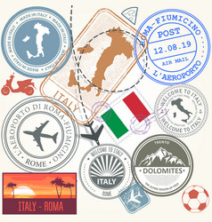 travel stamps set - italy and rome journey symbols vector image