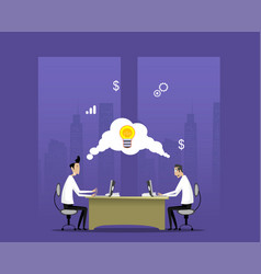 Two businessmen work in night office vector