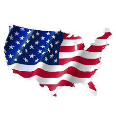 united states of america map with waving flag vector image vector image