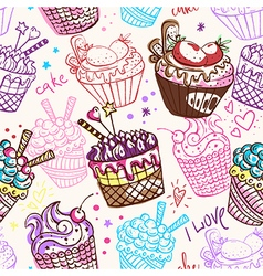 Vintage seamless pattern with cakes vector