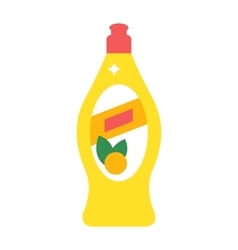 Washing dishes detergent flat vector image