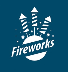 White logo for entertainment and fireworks vector