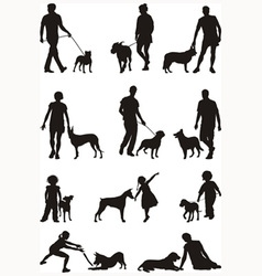 People and dog vector image