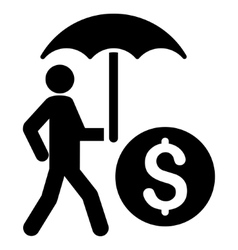 Walking banker with umbrella flat icon vector