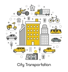 City transportation line art thin icons set vector