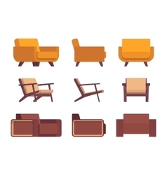 Set of retro armchairs vector