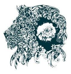 Floral design representing a lion vector
