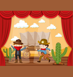 Stage play with two cowboys vector