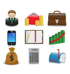 Set of bright business and financial icons vector