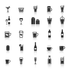 Drink icons with reflect on white background vector