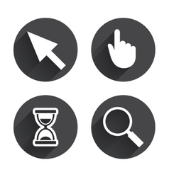 Mouse cursor icon hourglass magnifier glass vector