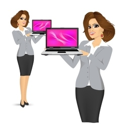 Business woman holding laptop vector