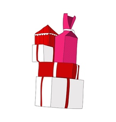 Presents pile with color number2 vector
