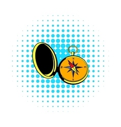 Vintage compass icon comics style vector