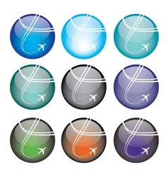 Set of airplane sphere icons vector