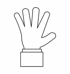 Hand showing five fingers icon outline style vector