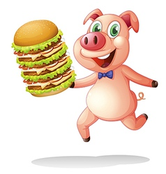 A pig holding a big pile of hamburgers vector image vector image