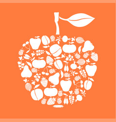 Apple of fruits and berries icon on orange vector
