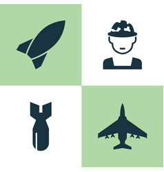 Battle icons set collection of military rocket vector