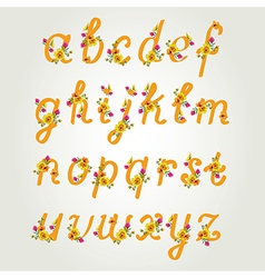 Beautiful font with flowers vector