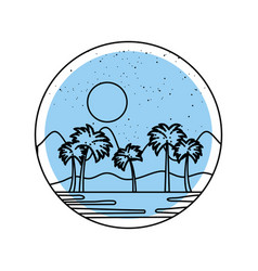 Beautiful seascape with palms vector