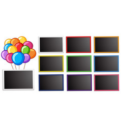 board template with colorful balloons vector image vector image