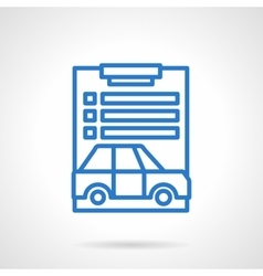 Car loan document blue line icon vector
