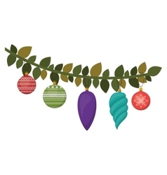 Christmas branch with colorful garlands vector image vector image
