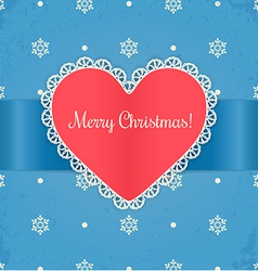 Christmas card with heart vector image vector image