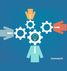 Concept of teamwork - people with heads of gears vector