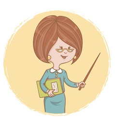 Cute woman teacher with a book and a pointer vector