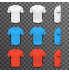 Different colors t-shirt front side back view vector