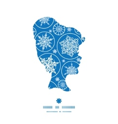 Falling snowflakes girl portrait silhouette vector