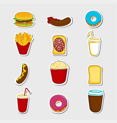 fast food cartoon stickers vector image vector image