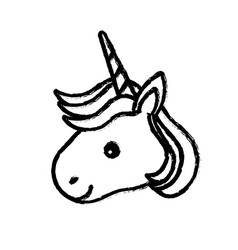 figure cute unicorn head with horn and hairstyle vector image vector image