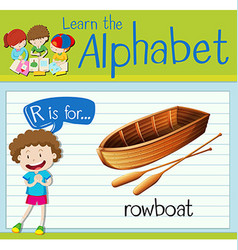 Flashcard letter r is for rowboat vector