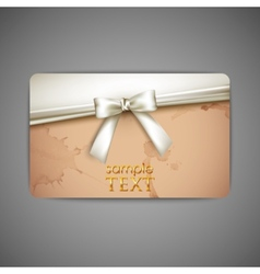 gift card with white bow and ribbon vector image vector image