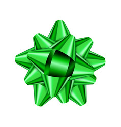 green holiday bow on white background vector image vector image