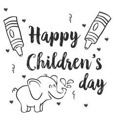 hand draw children day with elephant vector image