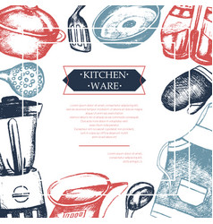 Kitchen ware - color vintage postcard template vector