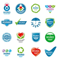 large set of logos insurance vector image