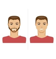 Man with a beard and no beard vector image vector image