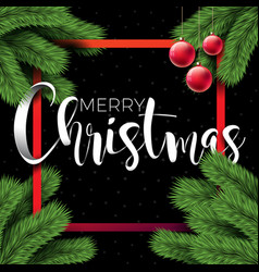 merry christmas on black background vector image vector image