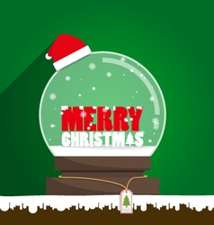 Merry christmas text in snow globe vector