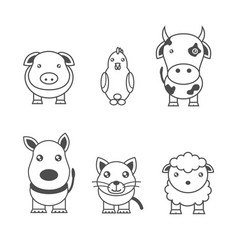 Monochrome of animals vector
