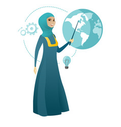 Muslim business woman pointing at a globe vector