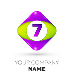 number seven symbol in the colorful rhombus vector image