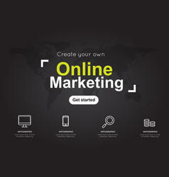 online marketing icons with world black map for vector image