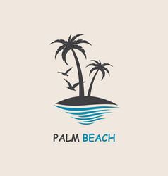 Palm beach icon vector