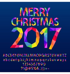 Patched bright merry christmas 2017 greeting card vector
